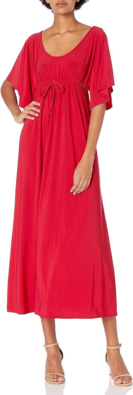 Star Vixen Womens Flutter Sleeve Empire Maxi Dress M Red