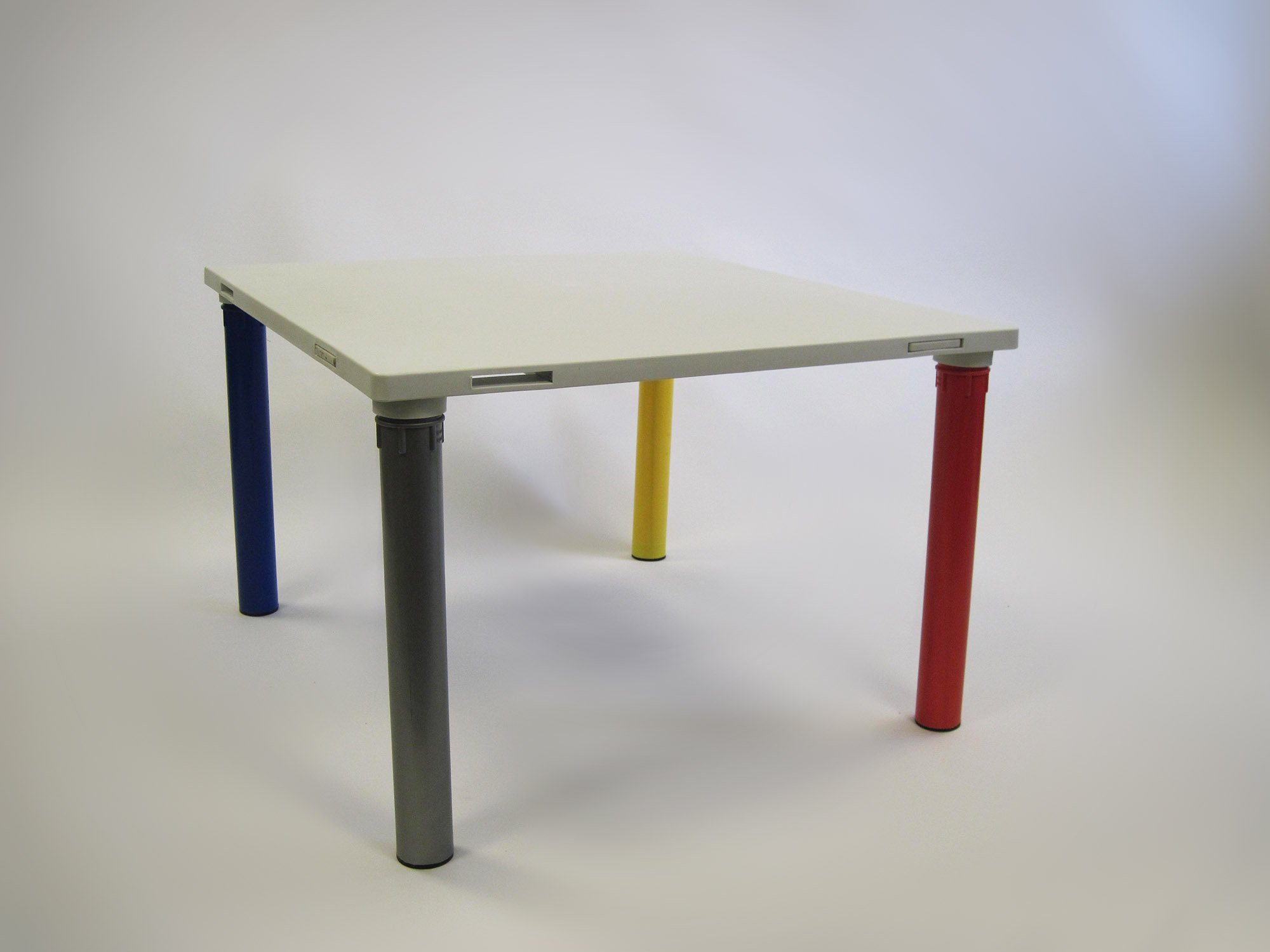 modular linking classroom table for kids, 30''x32''x20''H white reinforced resin table top, multicolored resin legs