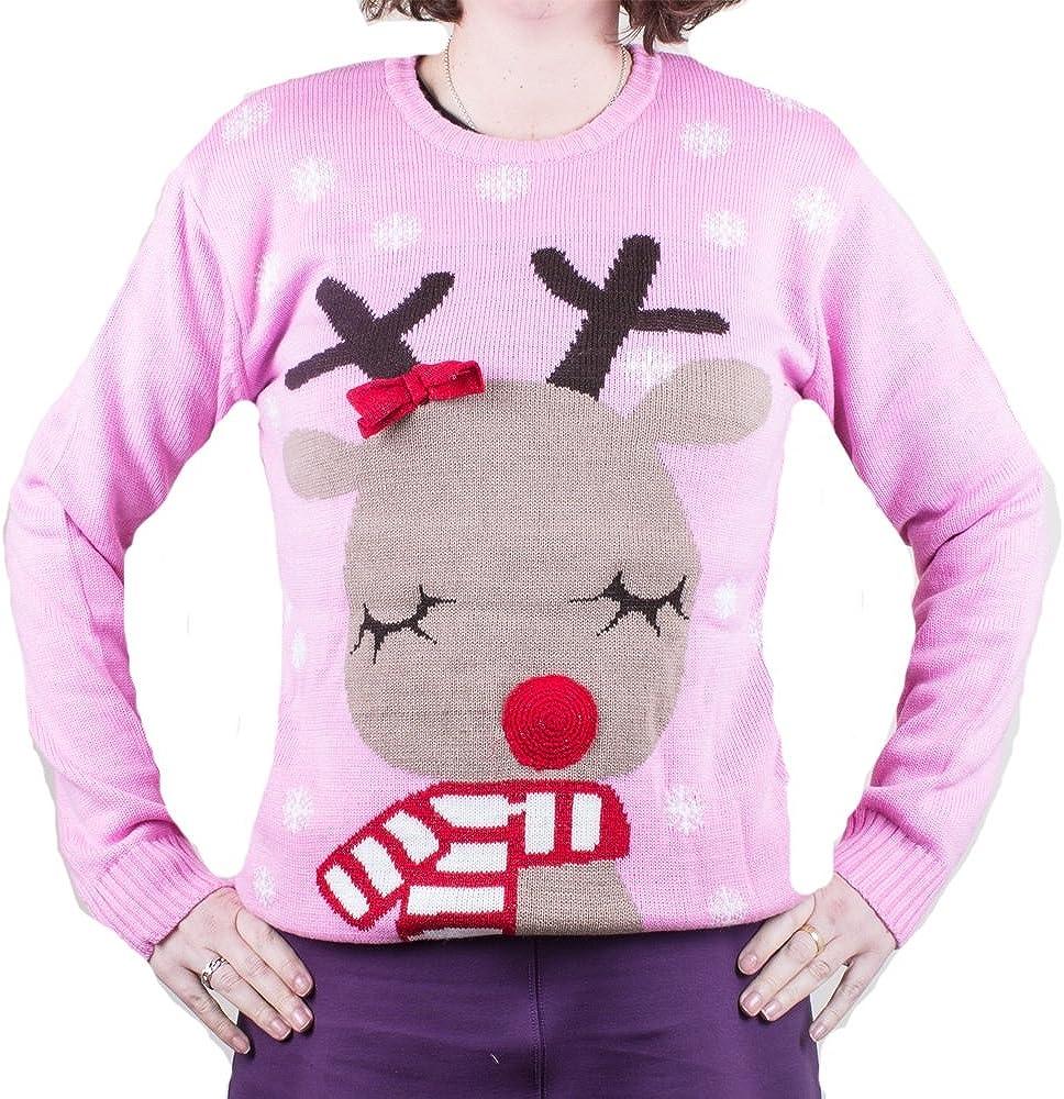 Jersey Navidad Rosa Novedad Reno con Bufanda Unisex Mujer y Hombre