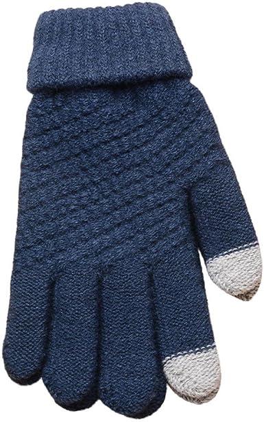 FAMILIZO Guantes Lana de Tejer Invierno Mujer Hombres, mujeres tejidas de lana mantienen guantes de mitones calientes de invierno (Azul): Amazon.es: Ropa y accesorios