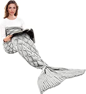 """yashidali Wearable Mermaid Tail Blanket Crochet, All Seasons Warm Knitted Bed Blankets Sofa Living Room Quilt for Kids and Adults, Fish-Scales Pattern, 76.8"""" x 35.5"""" (195 x 90cm), Luxury Grey"""