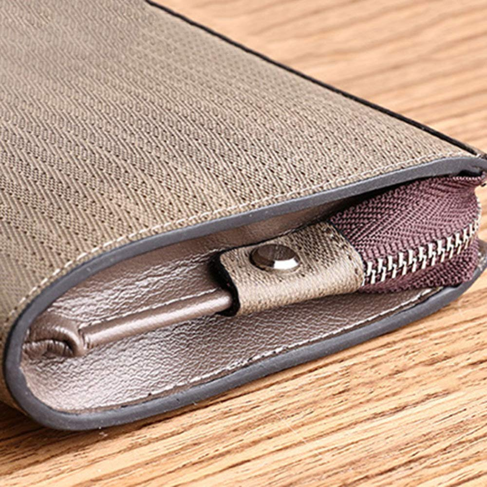 Zipper Money Clip Multi-Function Wallet Retro Hand Bag 19.52.710.5cm QINJLI Mens Long Wallet