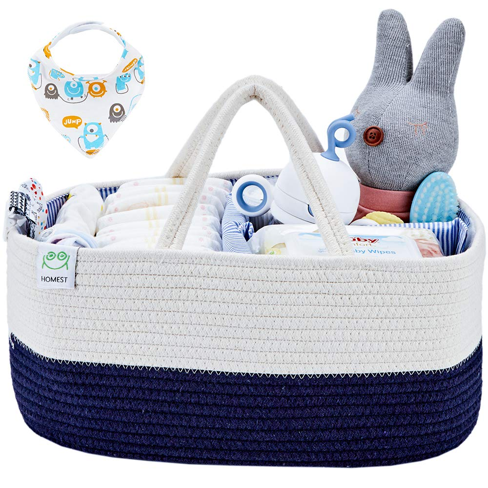 HOMEST XL Cotton Rope Baby Diaper Caddy Organizer with 1 Bandana Drool Bibs, Nursery Essentials Storage Bins for Changing Table and Car, Shower Gift Bag, White and Blue by HOMEST