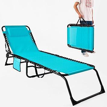 SoBuy Textoline Silla de jardín reclinable, Silla de Camping ...
