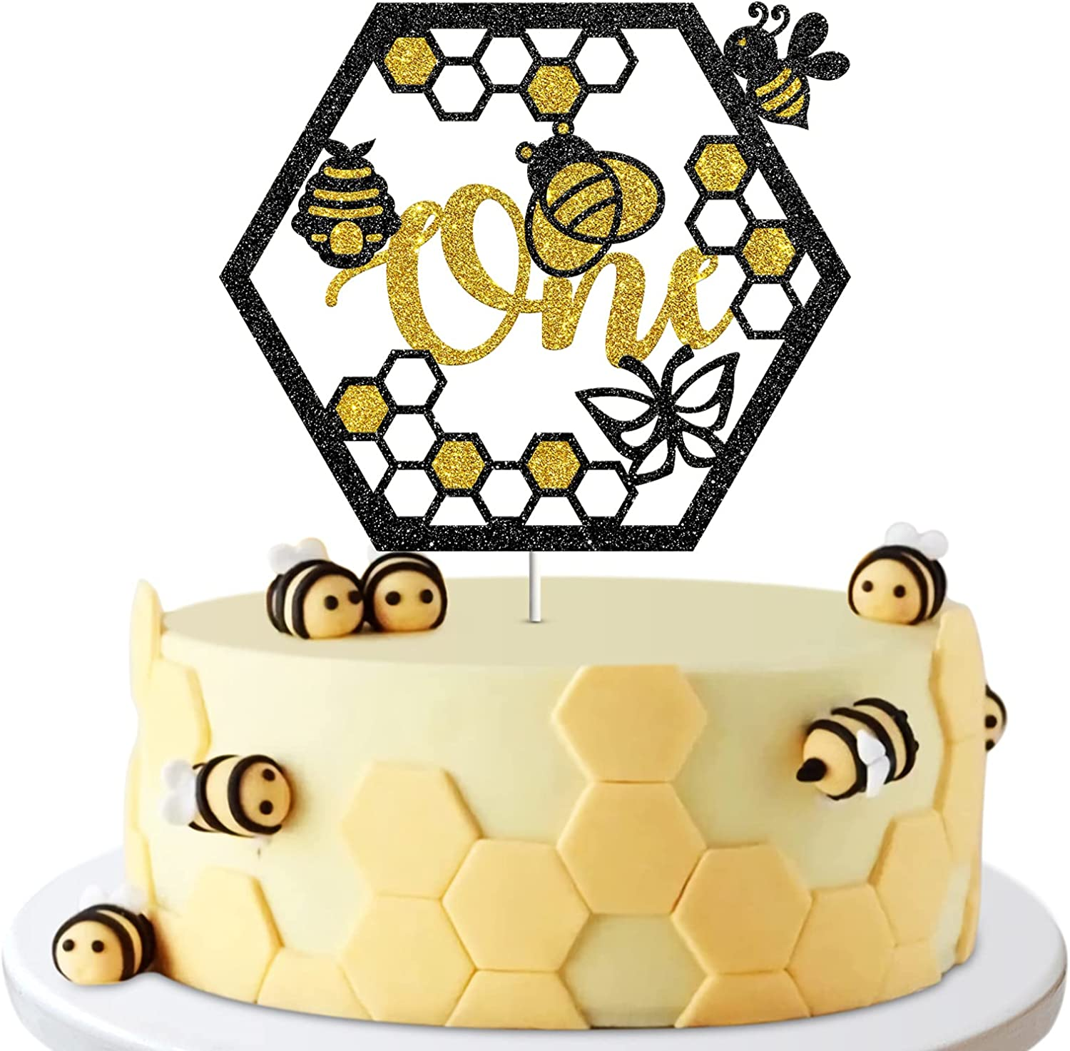 One Bee Cake Topper, Happy 1st Birthday Party Decor, Bumble Bee Honey, Baby Shower, One Year Old Party Decoration Supplies Photo Booth Props - Glod & Black Glitter