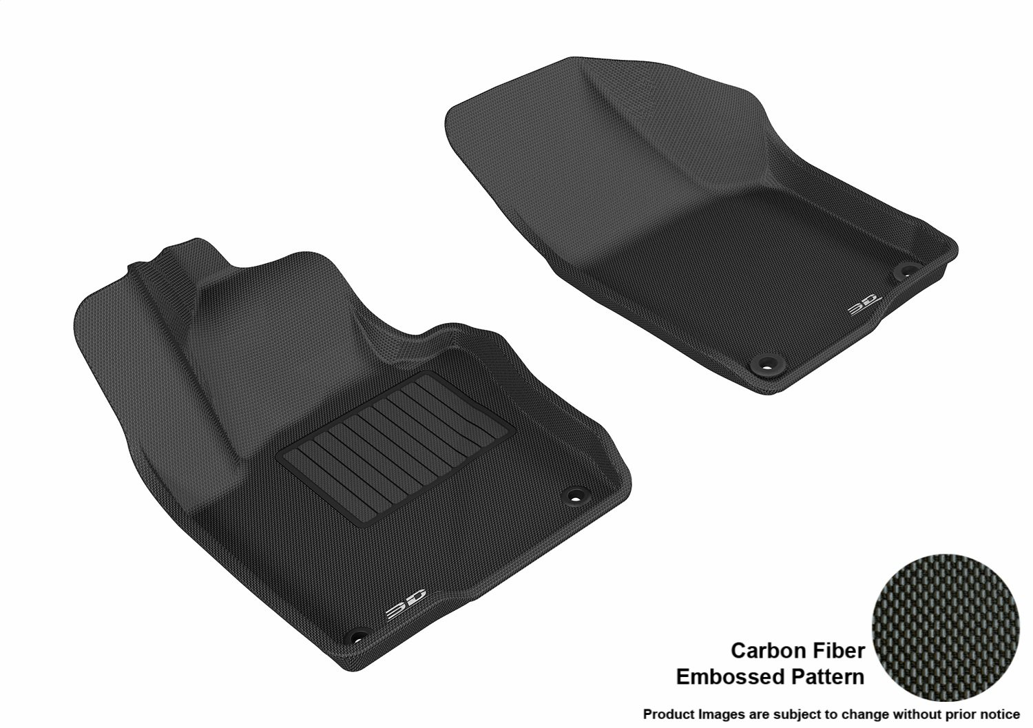 Black 3D MAXpider Front Row Custom Fit All-Weather Floor Mat for Select Volkswagen Jetta Models Kagu Rubber