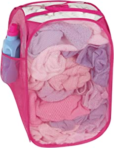Smart Design Pop-Up Laundry Hamper w/Easy Carry Handles & Side Pocket - Durable Fabric Collapsible Design - for Clothes & Laundry - Home Organization (Holds 2 Loads) (13 x 21 Inch) [Pink]