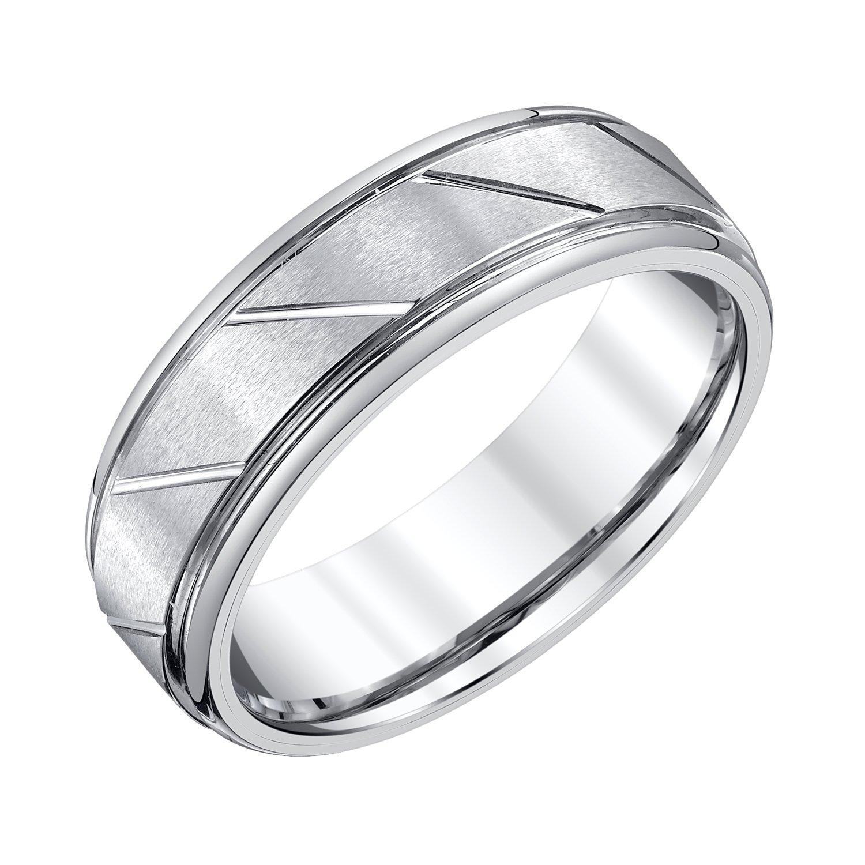 AX Jewelry Mens 7mm White Tungsten Wedding Band