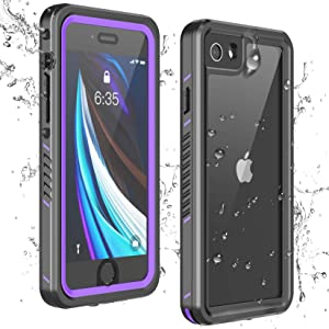 Temdan iPhone SE 2020 Case iPhone 8 Case iPhone 7 Case Waterproof,Clear Sound Quality Built-in Screen Protector Heavy Duty IP68 Waterproof Shockproof case for iPhone SE (2020)/8/7 4.7 inch-Purple