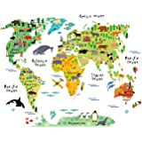 HomeEvolution Large Kids Educational Animal Landmarks World Map Peel & Stick Wall Decals Stickers Home Decor Art for…
