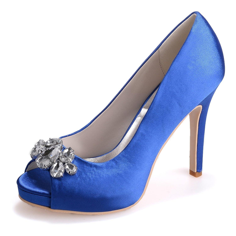 Elobaby Frauen Hochzeit Schuhe WR584 Strass Kätzchen Neue Chunky Satin High Heels (11 cm Ferse)