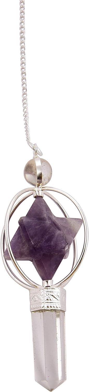 Reiki Healing Energy Generator Espiritual Gemstone Perple Amethyst Star Spinning Merkaba Dowsing Crystal Lápiz Péndulo con cadena larga-Blessfull Healing