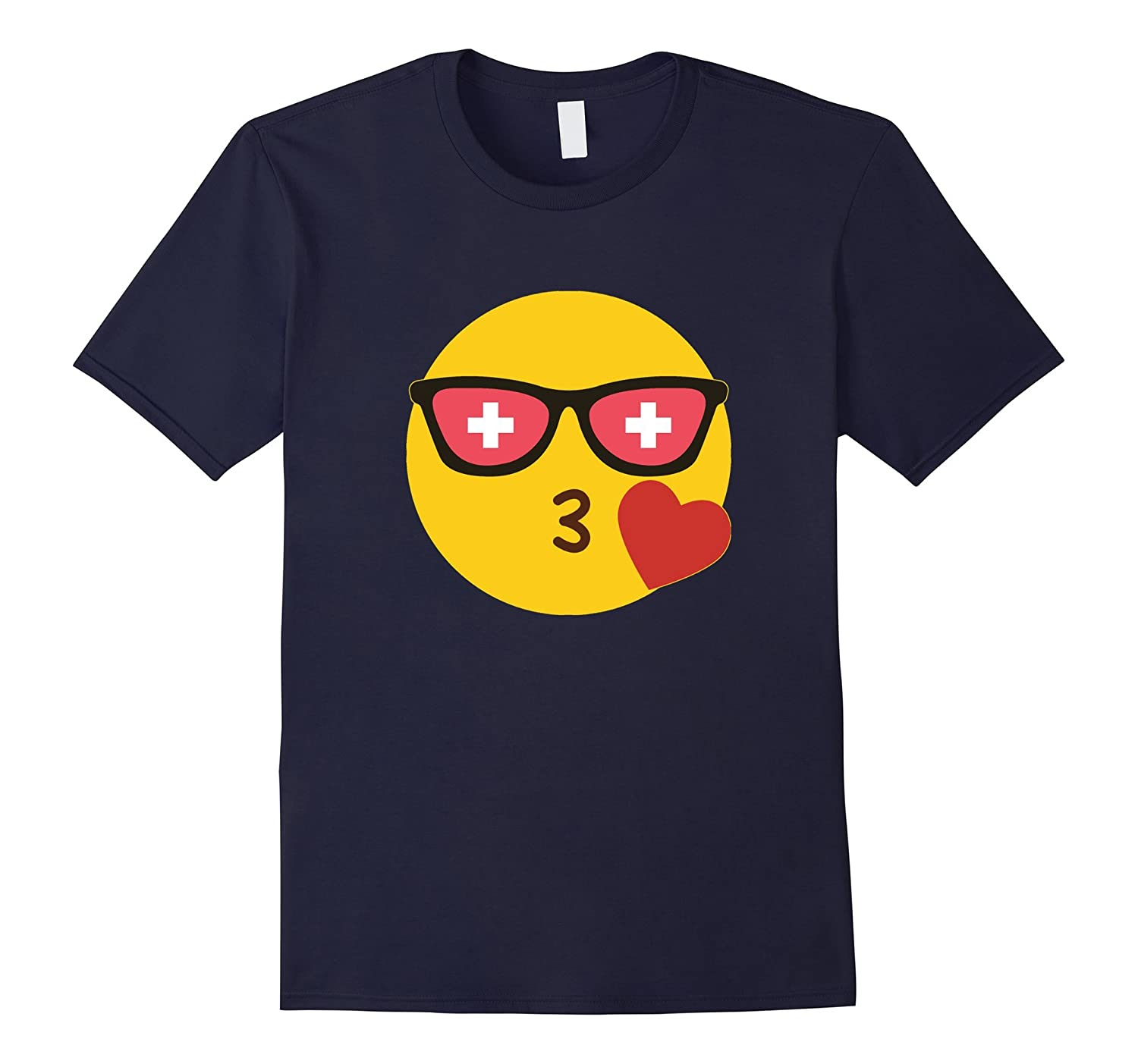 Emoji Switzerland T-Shirt Swiss Flag Sunglasses Funny Tee-Vaci