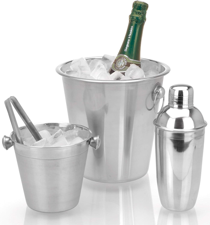 HTI-Living Barset Eiseimer Shaker Sektk/ühler Doppelwandig Geb/ürstet Champagner shaker
