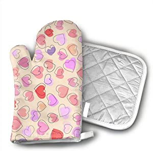 NOT Heart Shaped Pattern Cotton Heat Resistant Double Oven Mitts/Gloves Potholder Extra for Kitchen Cooking Baking
