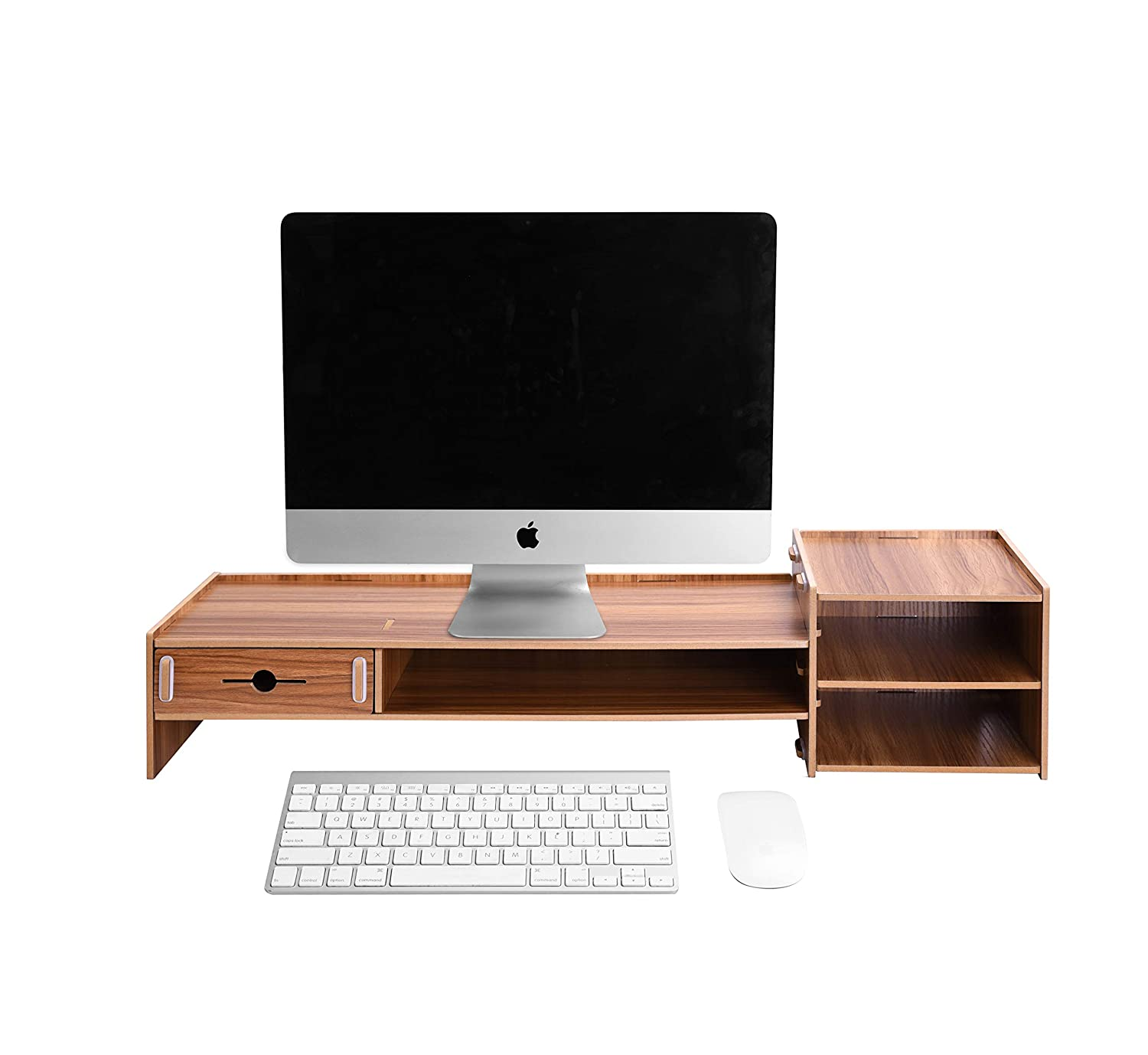 wooden monitor stand,lesfit desktop monitor riser with keyboard storage  space for pc,small tv,laptop: amazon co uk: office products