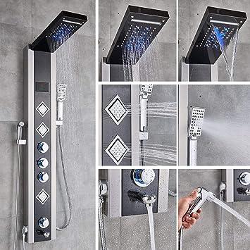 GHKUFH Sistema de ducha Azul Negro Hidroelectricidad Panel de ...