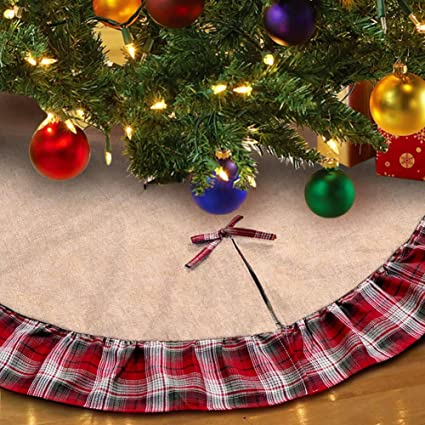aytai 48inch plaid christmas tree skirts red black ruffle edge linen burlap tree skirt holiday christmas - Red And Black Plaid Christmas Decor