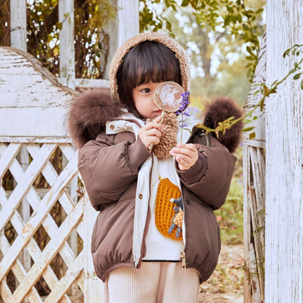 YZ-HODC Kids Winter Unisex Down Jacket Thicken Fur Collar Hooded Outwear White Duck Down Loose Leisure Warm Windbreaker