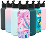 Simple Modern 32oz Summit Water Bottles with Straw Lid - Vacuum Insulated Tumbler Double Wall Travel Mug 18/8 Stainless Steel Flask - Pattern: Pink Sea Marble