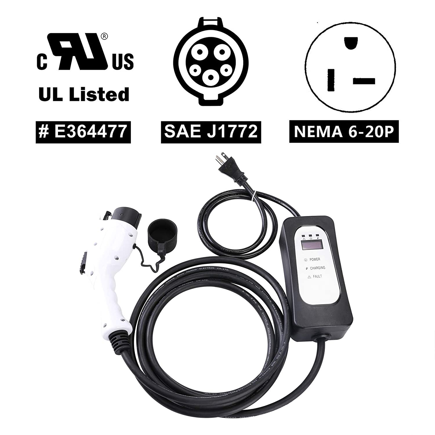 Level 2 EV Charger Nissan Leaf Ford Fusion Fiat Portable EVSE Home Electric Vehicle Charging Station Compatible with Chevy Volt Orion Motor Tech NEMA6-20 with Adapter for NEMA5-15 110V-240V, 16A, 23FT