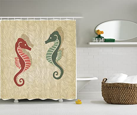 Charming Seahorses Nautical Decor Shower Curtain Set By Ambesonne, Graphic Colorful  Beach Coral Reef Design,