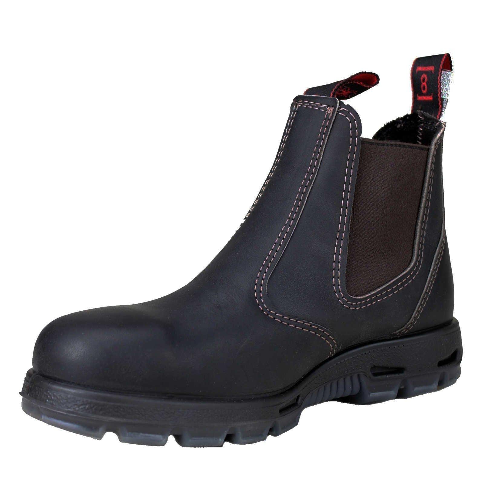 RedbacK Men's Safety Bobcat USBOK Elastic Sided Steel Toe Dark Brown Leather Work Boot (9.5 AU 3E (10.5 M US Men)) by RedbacK