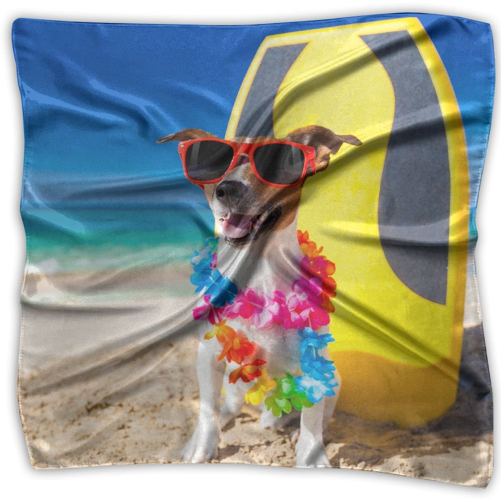 Womens Girl's Dogs Funny Russell Terrier Glasses Print Square Kerchief Scarf Head Wrap Neck Satin Shawl by FJ FASHION