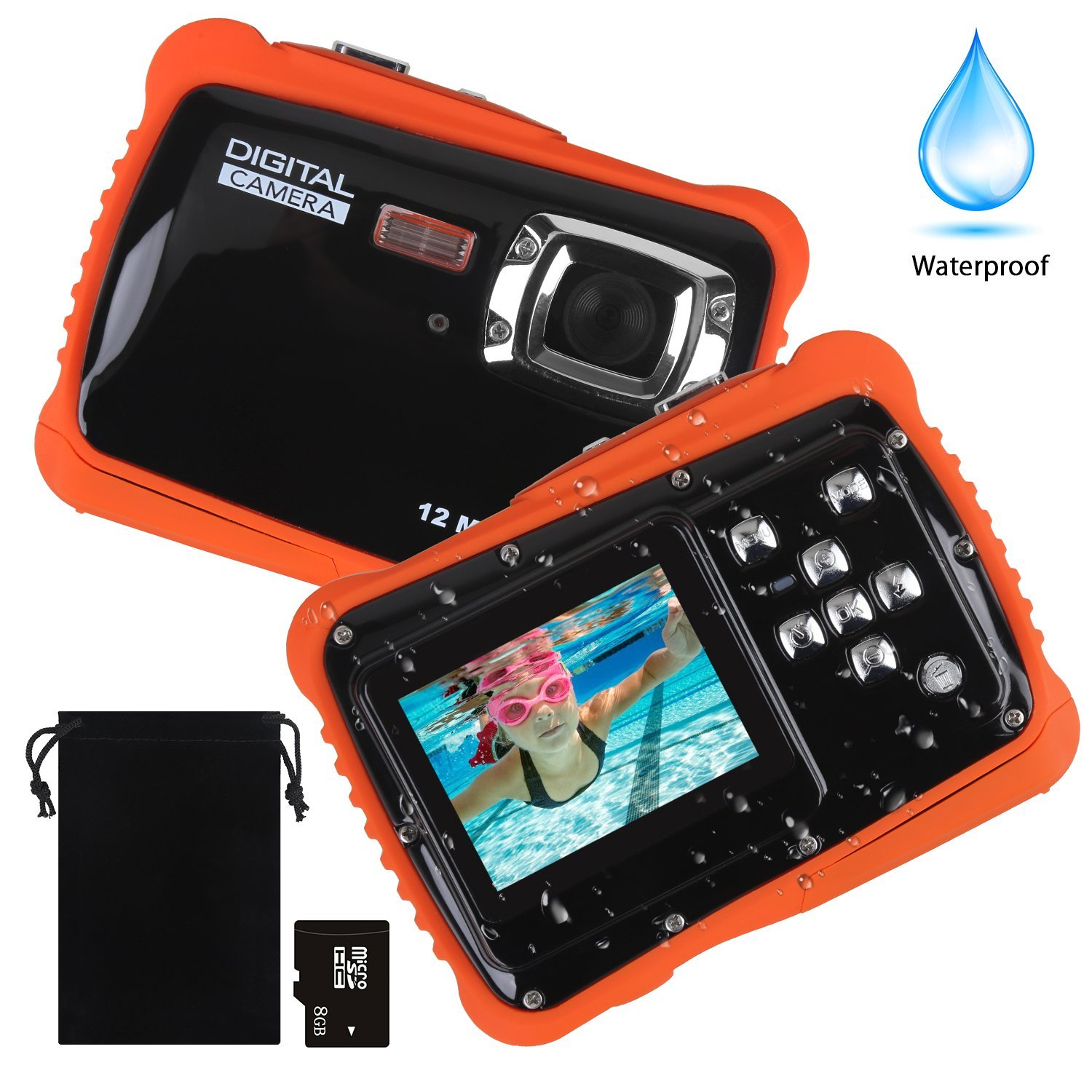 Kids Waterproof Camera, DECOMEN Digital Underwater Camera for Boys and Girls, 12MP HD Action Sport Camcorder with 2.0'' LCD, 8x Digital Zoom, Flash, Mic and 8G SD Card.