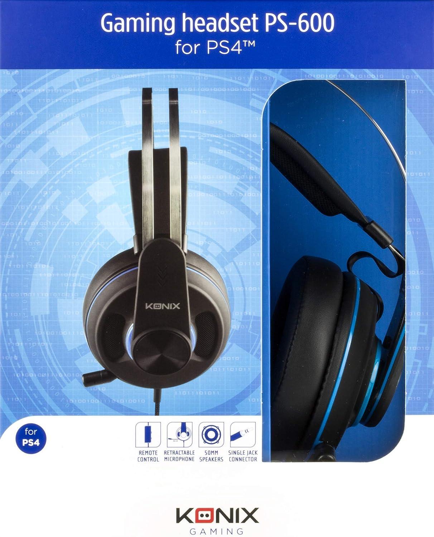 Konix ps-600 - Auricular Gaming Ps4 Compatible con PC, Xbox Audio y Anti Ruido - Auriculares Gamer PS4 Jack - Compresa y Banda Amorti para Confort Optimal ...