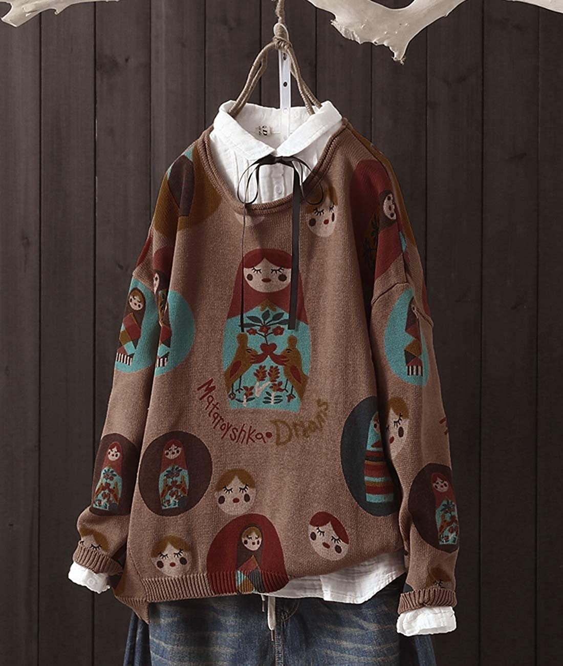 YESNO S01 Girls Casual Loose Sweaters Knitted Pullover Tops Cute Cat Printed Long Sleeve