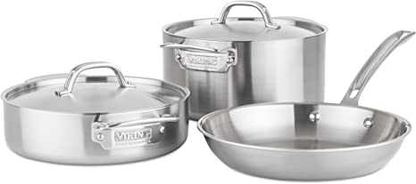 Amazon Com Viking Culinary Professional 5 Ply Stainless Steel Cookware Set 5 Piece Silver Kitchen Dining