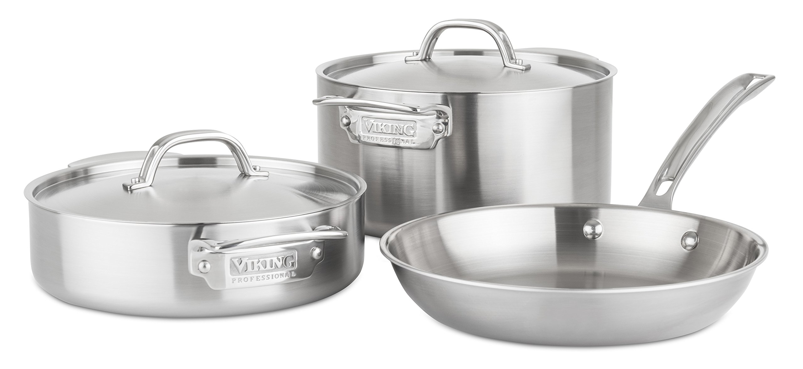 Viking 4515-1S05S Professional 5-Ply Stainless Steel Cookware Set, 5 Piece, Silver by Viking Culinary
