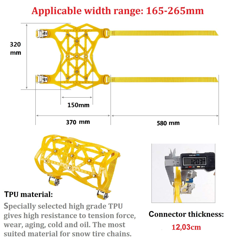 Qisiewell Catena da Neve Kit di 6 Giallo Catene Anti-Slittamento per Automobile Universale Trazione per Qualsiasi Pneumatico con Grandezza Compresa fra 165mm-275mm