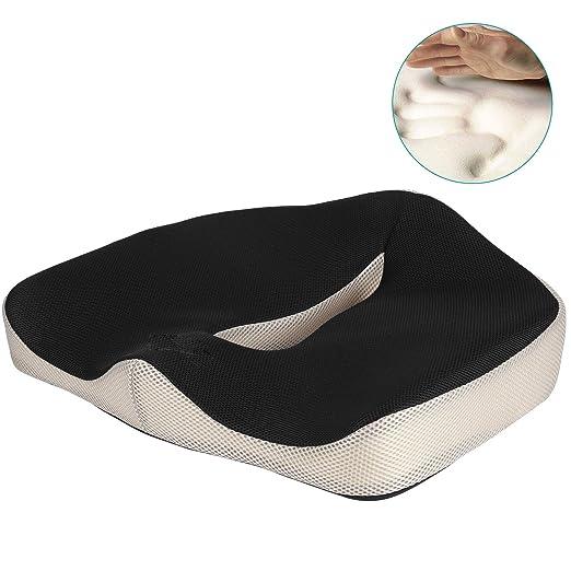 Feagar Cojin Coxis de Espuma Memoria Portátil para Hemorroides, Hernias, Cojines para espalderas y sillas Ortopedico (S1)