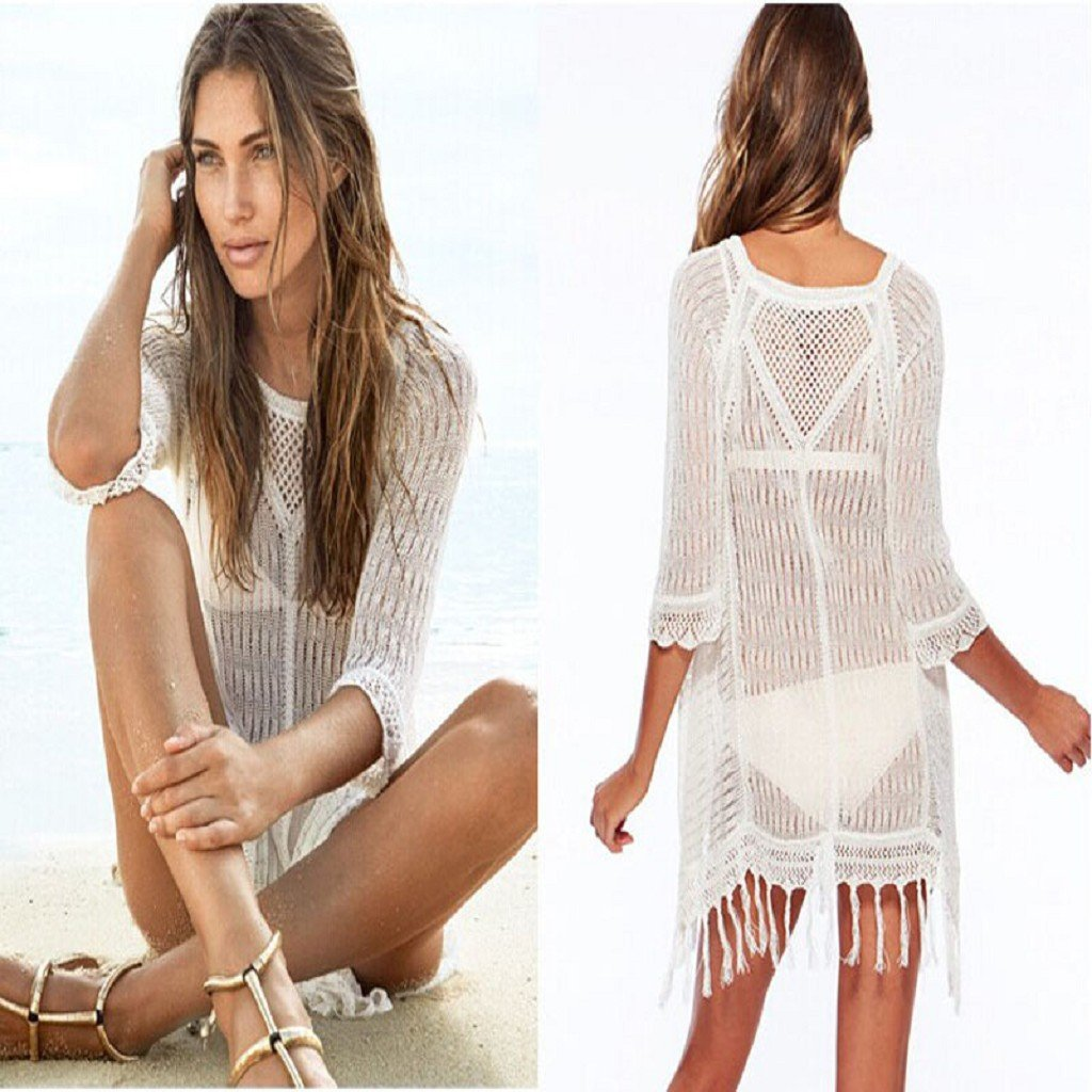 Sannysis Mujer Trajes de baño de borlas cubierta Bikini Viste Beach (Blanco): Amazon.es: Deportes y aire libre