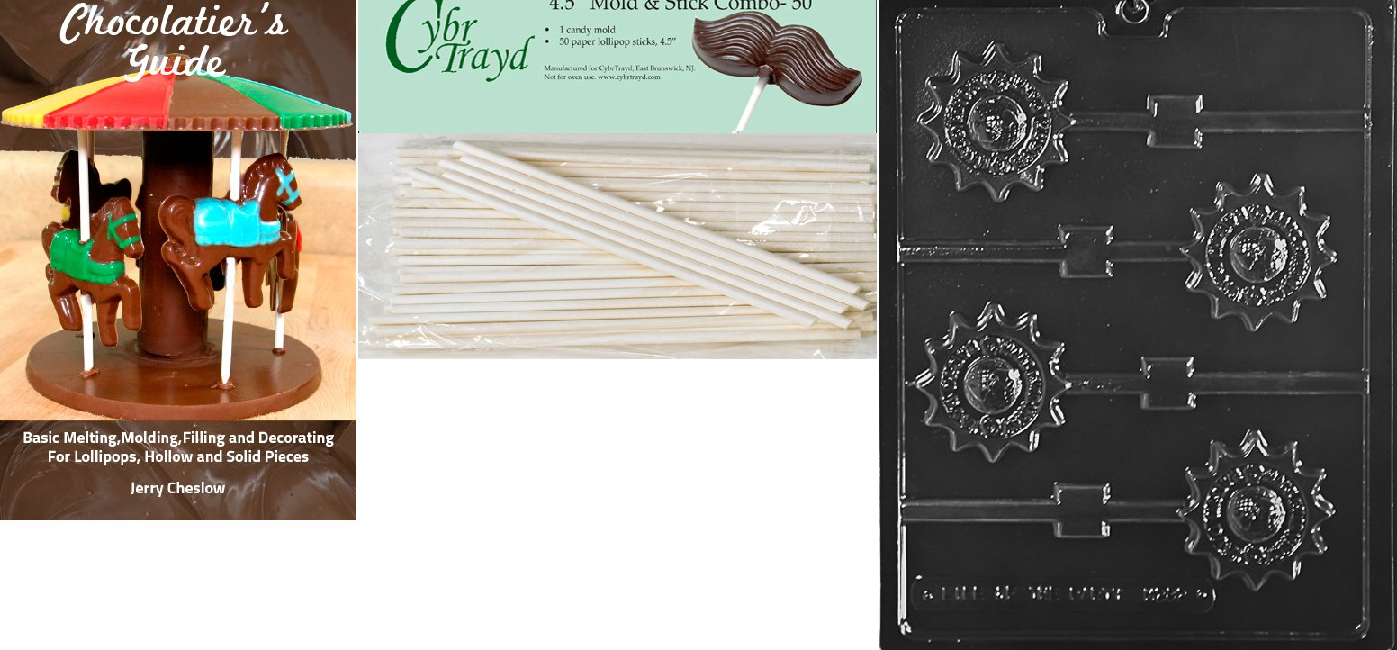 Cybrtrayd 'Make Everyday Earth Day Lolly' Miscellaneous Chocolate Candy Mold with 50 4.5-Inch Lollipop Sticks and Chocolatier's Guide by CybrTrayd