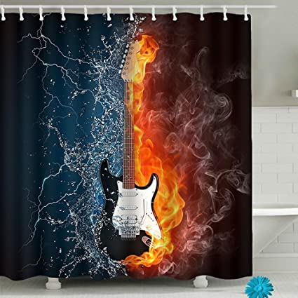 Image Unavailable Not Available For Color Guitar Bathroom Shower Curtain Sets