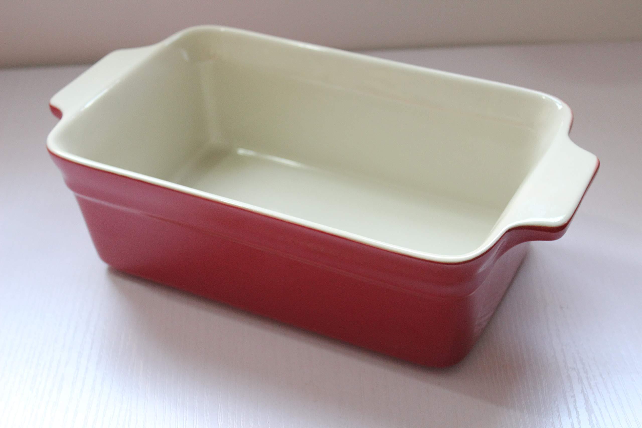 Lonovel Rectangular Baking Dish Roasting Lasagna Pan,11.5-Inch Classic Stoneware Ceramic Large Rectangular Bakers,Red by Lonovel (Image #4)