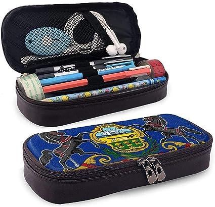 Bolígrafo de cuero de Pennsylvania Estuche para lapiceros Caja de bolígrafos con cierre escolar, caja de papelería de gran capacidad para niñas, niños y adultos: Amazon.es: Oficina y papelería