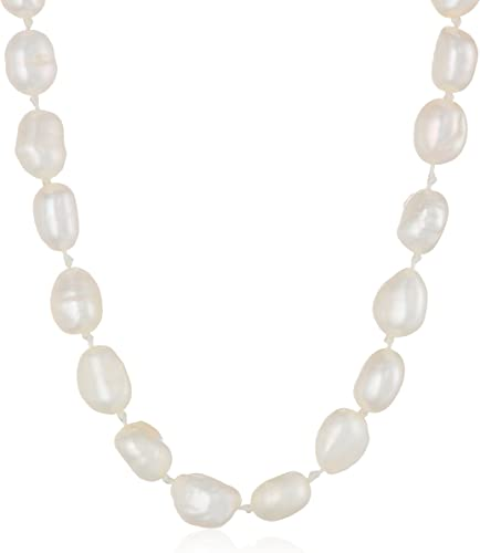 Sterling Silver 18in 9-10mm White Freshwater Cultured Pearl Necklace.