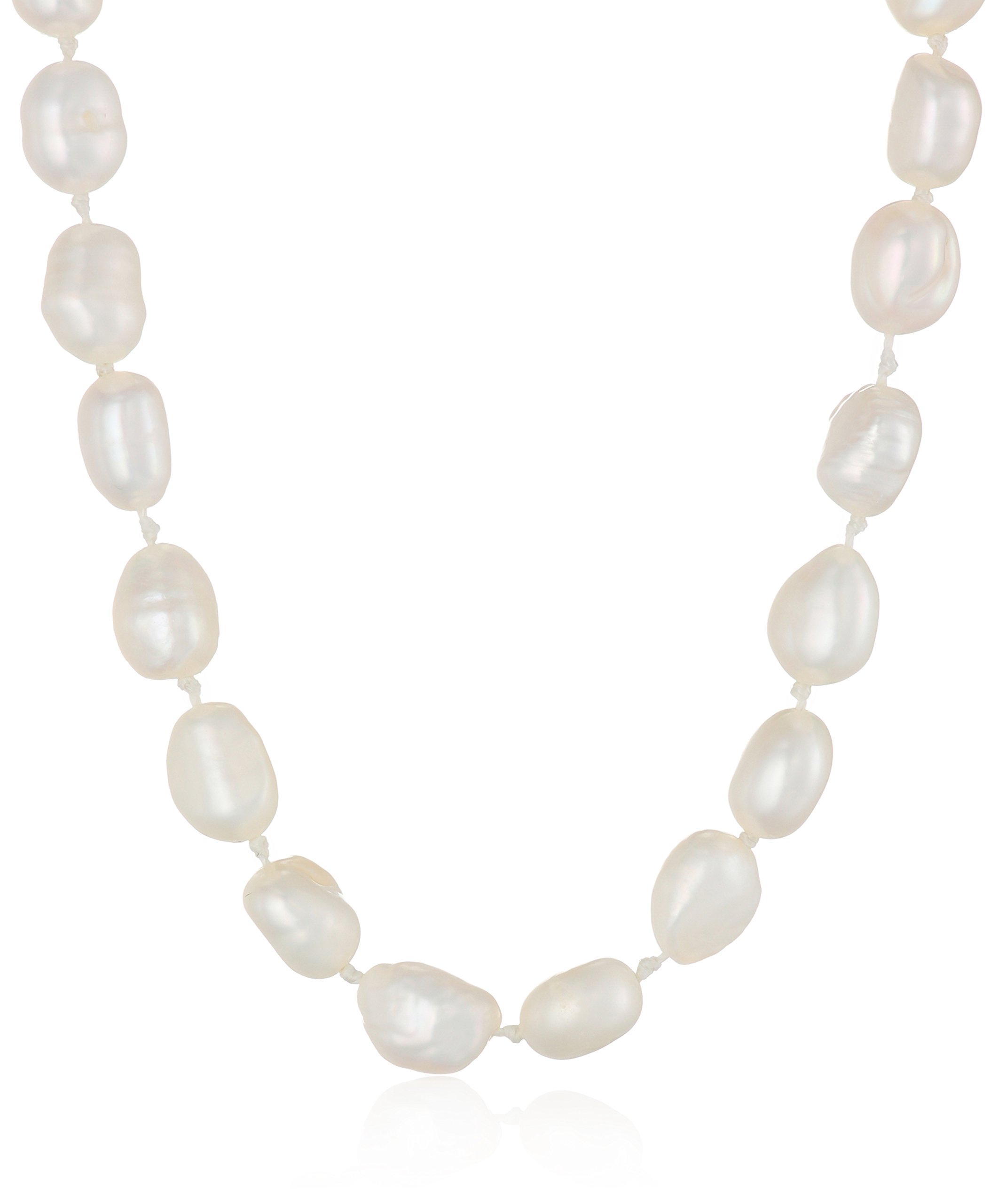 Sterling Silver 5-6mm White Baroque Freshwater Cultured Pearl Necklace 18''