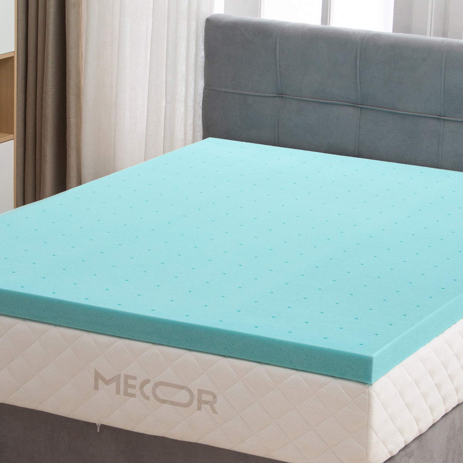 Mecor 4 Inch 4'' 100% Gel Infused Memory Foam Mattress Topper -King Size Ventilated Design Bed Topper- Promotes Airflow - Relieves Pressure Points -CertiPUR-US Certified/Blue
