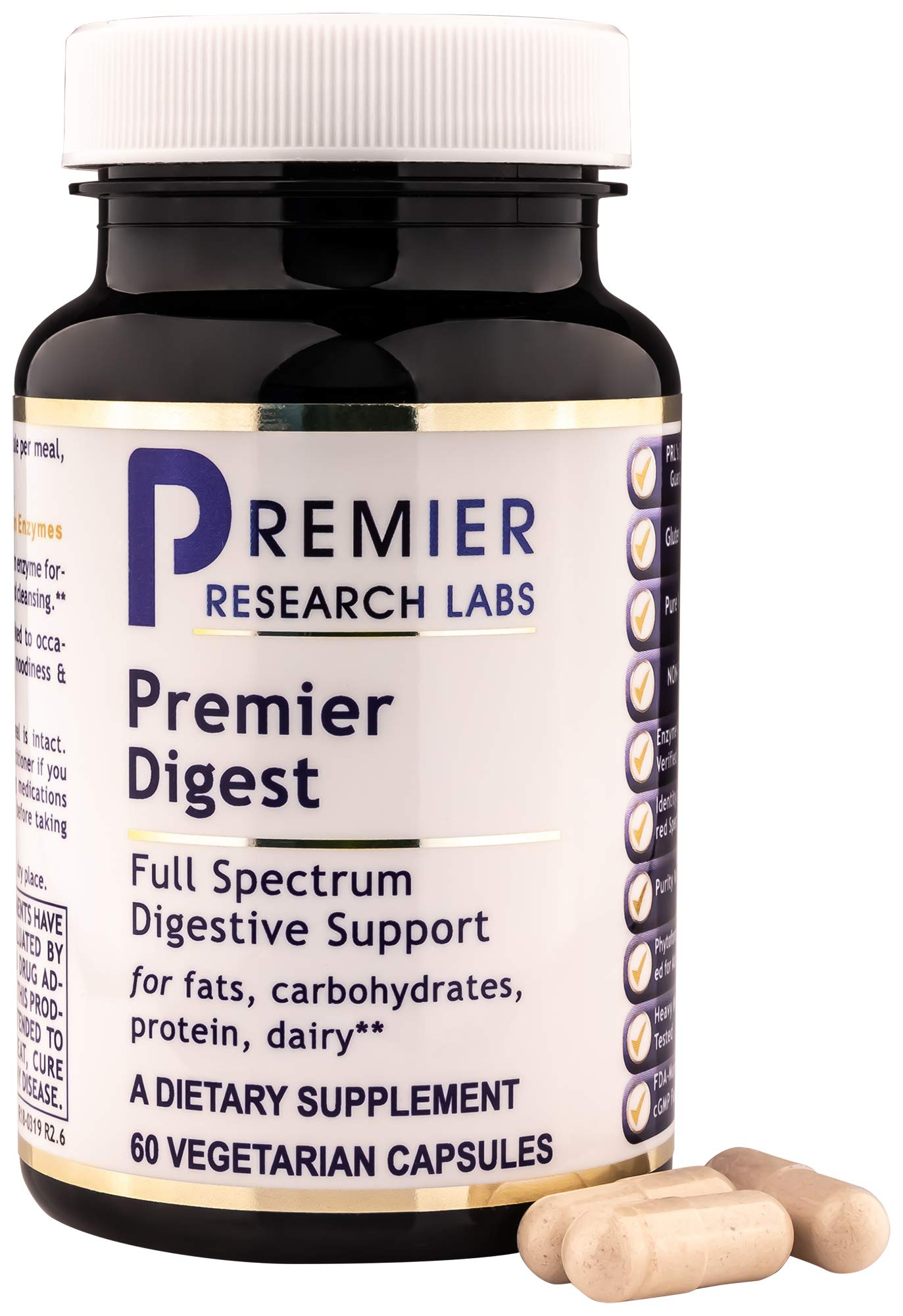 Premier Digest, 60 Capsules, Vegan Product - Vegetarian Source Enzymes, Full Spectrum Digestive Support for Fats, Carbohydrates, Proteins and Dairy