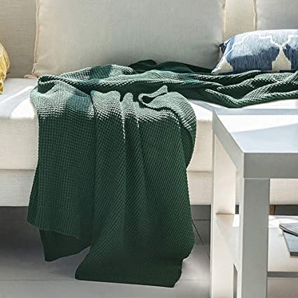 Amazon.com: blanket Dark Green Sofa Towel Cotton Wool Solid Color ...