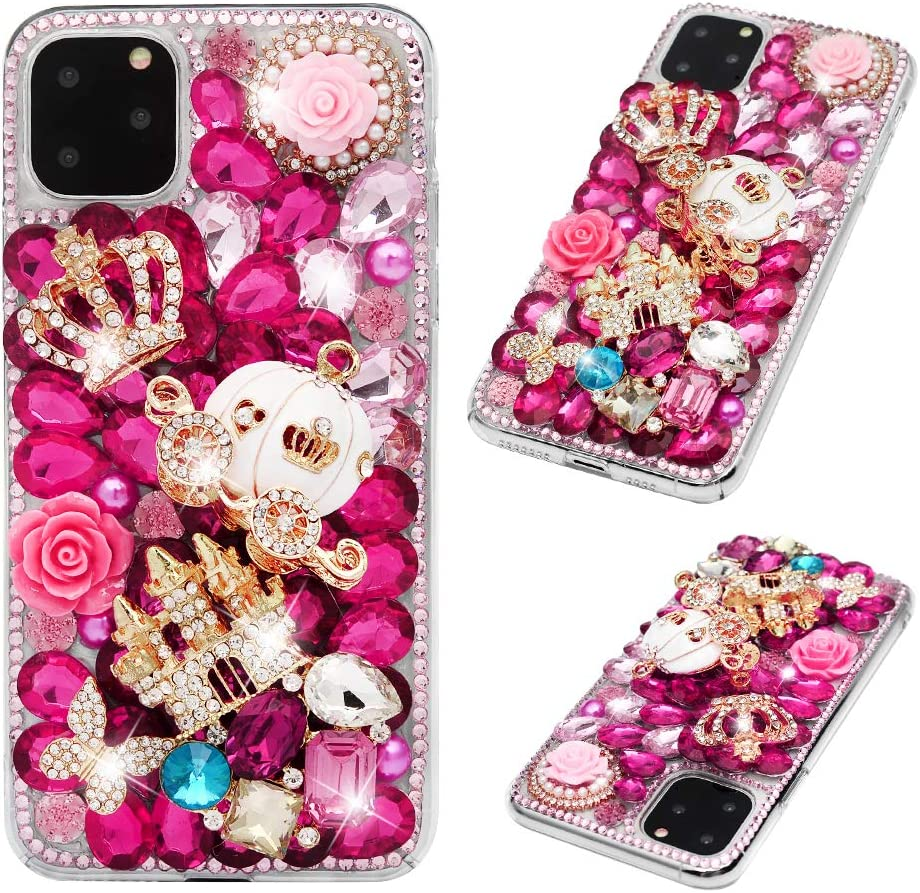 DaDaU 3D Crystal Diamond Case Shiny Rhinestone Case Handmade Bling Hard PC Case Full Edge Cover Jeweled Case Compatible with iPhone 11 Pro Max 6.5 inch 2019