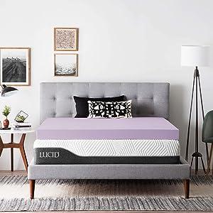 LUCID Foam Mattress Topper - Ventilated Design, 2 Inch