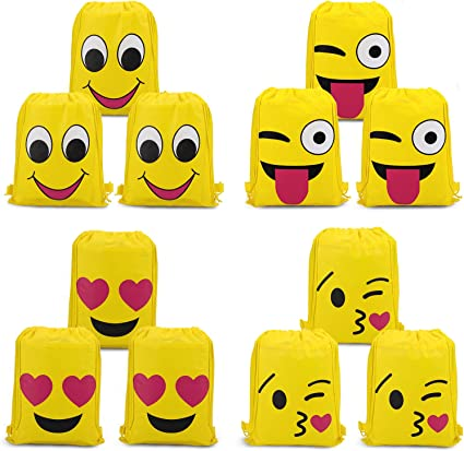 VEYLIN Emoji Drawstring Backpacks Cartoon Different Designs for Kids Boys Gir...