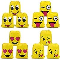 Konsait Emoji Sac à Dos Enfant (12Pack), Sacs à Cordon Émoticône Emoji Sac de Gym Garçons Filles pour Décorations Enfants Cadeau de Fête Anniversaire Noël