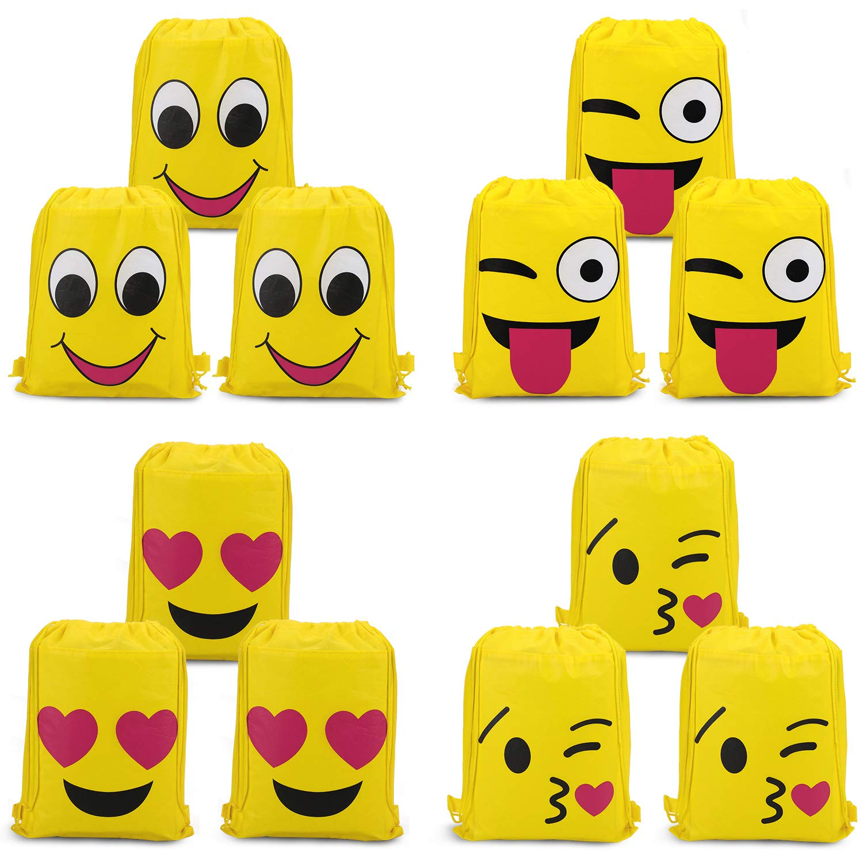 Konsait Emoji Bolsa de Cuerdas para Infantil (12Pack), Emoji Cordón Mochila Bolsas Regalo Cumpleaños Deporte Gimnasio Backpack para Niños Niñas Fiesta ...